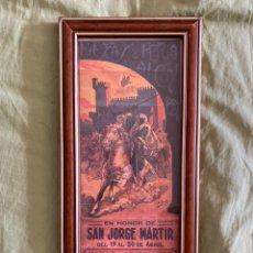Coleccionismo de carteles: LITOGRAFÍA ORIGINAL ENMARCADA SAN JORGE MÁRTIR CARTEL FIESTAS Y FERIA EN ALCOY. Lote 237495710