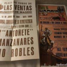 Coleccionismo de carteles: CARTEL DE TOROS 1982 Y 1984 ANTOÑETE MANZANARES, ROBLES Y NOVILLADA. Lote 237531880