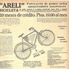 Coleccionismo de carteles: 1923 HOJA REVISTA PUBLICIDAD ANUNCIO DE PRENSA BICICLETA DE PASEO ARELI. Lote 237671590