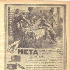 Coleccionismo de carteles: 1923 HOJA REVISTA PUBLICIDAD ANUNCIO DE PRENSA COMBUSTIBLE SÓLIDO META PARA EXCURSIONES INFIERNILLOS. Lote 237676325