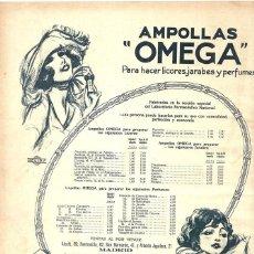 Coleccionismo de carteles: 1923 HOJA REVISTA PUBLICIDAD ANUNCIO DE PRENSA AMPOLLAS 'OMEGA' PARA HACER LICORES, JARABES, PERFUME. Lote 237676715