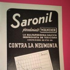 Coleccionismo de carteles: PUBLICIDAD MEDICAMENTOS - SARONIL - HISTÓGENO - AÑO 1944 - FARMACIA - REVISTA MEDICINA. Lote 240382180