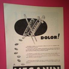 Coleccionismo de carteles: PUBLICIDAD MEDICAMENTOS - VEGANIN - SOLVOCHÍN - VIGONCAL - AÑO 1944 - FARMACIA - REVISTA MEDICINA. Lote 240383500