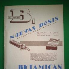 Coleccionismo de carteles: PUBLICIDAD MEDICAMENTOS - BETAMICAN - CETAMICAN - ALTER - AÑO 1944 - FARMACIA - REVISTA MEDICINA. Lote 240385135