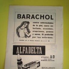 Coleccionismo de carteles: PUBLICIDAD MEDICAMENTOS - BARACHOL - ALFADELTA - HEPAGASTRON AÑO 1944 - FARMACIA - REVISTA MEDICINA. Lote 240389435