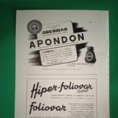 Coleccionismo de carteles: PUBLICIDAD MEDICAMENTOS APONDON - FOLIOVAR - INSULINA - AÑO 1944 - FARMACIA - REVISTA MEDICINA. Lote 240391115