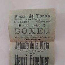 Colecionismo de cartazes: PEQUEÑO CARTEL PLAZA TOROS VALENCIA BOXEO ANTONIO DE LA MATA CONTRA HERNI FROEHNER RV. Lote 240786630