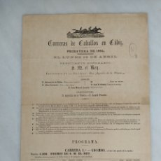 Coleccionismo de carteles: CARRERA DE CABALLOS EN CÁDIZ 1884. Lote 242818460