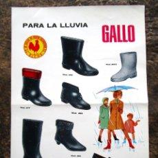 Coleccionismo de carteles: ANTIGUO CARTEL POSTER BOTAS GALLO CAUCHO AGLOMERADO ELCHE AÑO 1968 FACASA. Lote 34205637