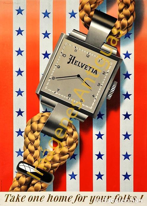 HELVETIA - CARTELES - IMAGENES - PUBLICIDAD - RELOJERIA - RELOJES (Coleccionismo - Carteles Pequeño Formato)