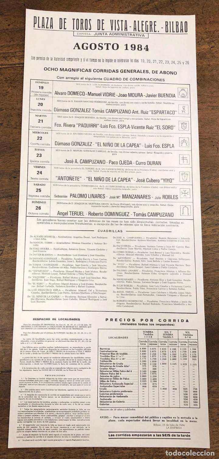 Coleccionismo de carteles: CARTEL PLAZA DE TOROS VISTA ALEGRE. BILBAO. AGOSTO 1984 - Foto 2 - 245579610