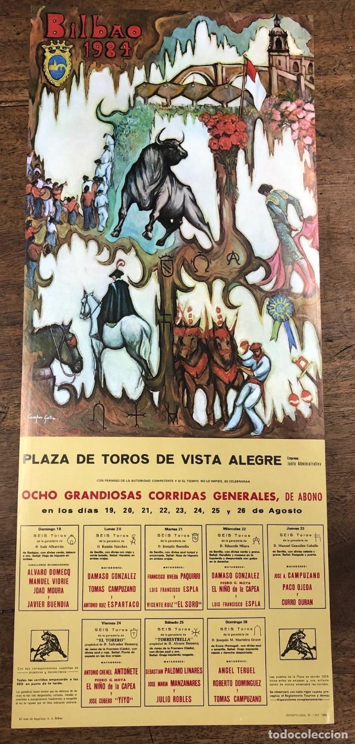 CARTEL PLAZA DE TOROS VISTA ALEGRE. BILBAO. AGOSTO 1984 (Coleccionismo - Carteles Pequeño Formato)