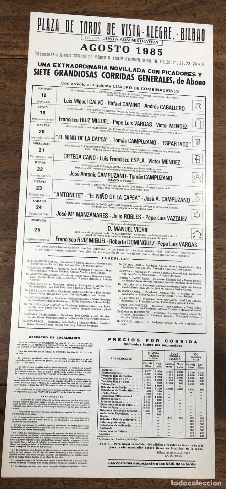 Coleccionismo de carteles: CARTEL PLAZA DE TOROS VISTA ALEGRE. BILBAO. AGOSTO 1985 - Foto 2 - 245580110