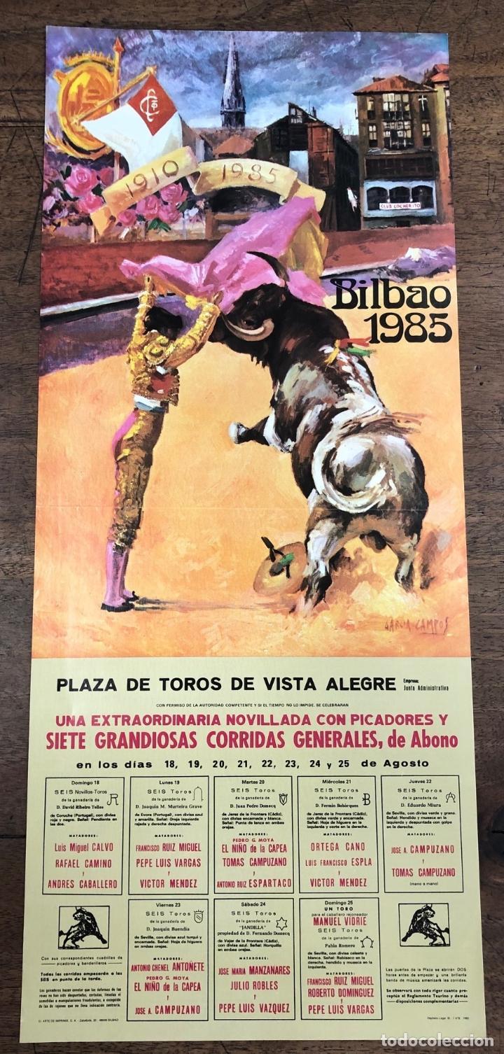 CARTEL PLAZA DE TOROS VISTA ALEGRE. BILBAO. AGOSTO 1985 (Coleccionismo - Carteles Pequeño Formato)