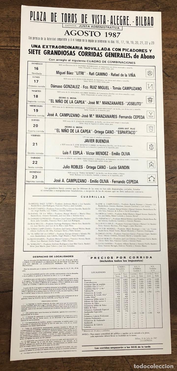 Coleccionismo de carteles: CARTEL PLAZA DE TOROS VISTA ALEGRE. BILBAO. AGOSTO 1987 - Foto 2 - 245580575
