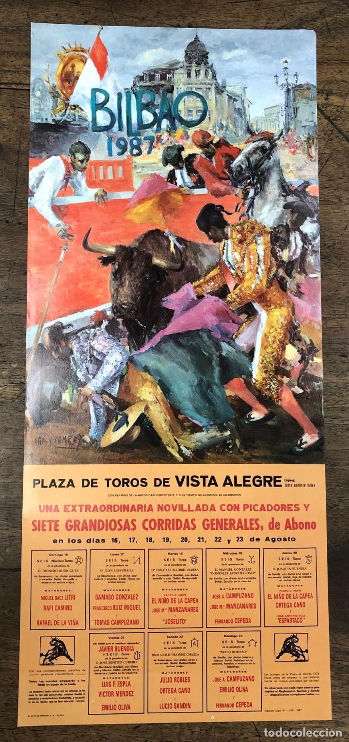 CARTEL PLAZA DE TOROS VISTA ALEGRE. BILBAO. AGOSTO 1987 (Coleccionismo - Carteles Pequeño Formato)