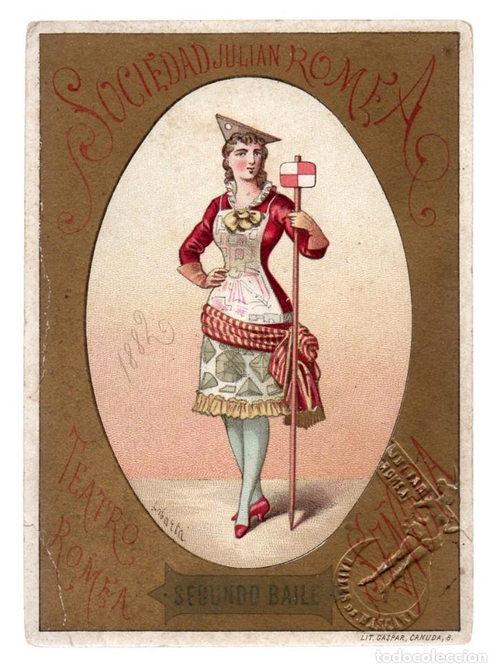 SOCIEDADES JULIAN ROMEA , SEGUNDO BAILE 1882, TEATRO ROMEA, SEÑORA. Nº 91, LIT. GASPAR (Coleccionismo - Carteles Pequeño Formato)