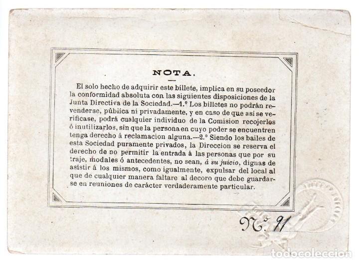Coleccionismo de carteles: SOCIEDADES JULIAN ROMEA , SEGUNDO BAILE 1882, TEATRO ROMEA, SEÑORA. Nº 91, LIT. GASPAR - Foto 2 - 245581180