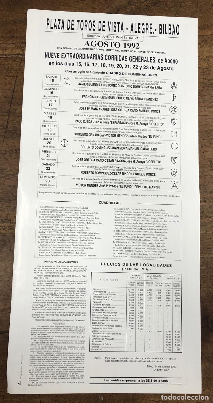 Coleccionismo de carteles: CARTEL PLAZA DE TOROS VISTA ALEGRE. BILBAO. AGOSTO 1992 - Foto 2 - 245582730