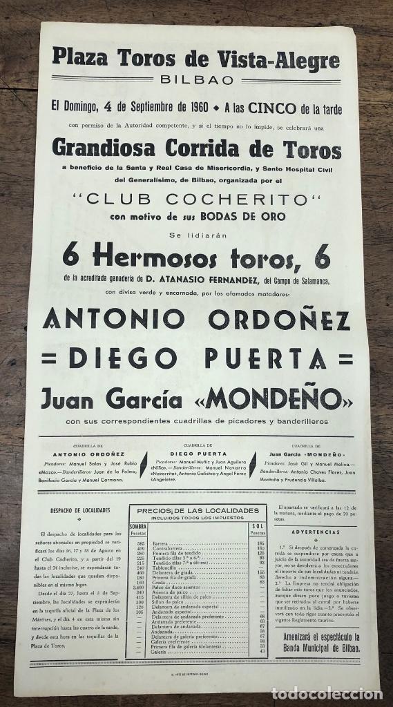 Coleccionismo de carteles: CARTEL EN SEDA BODAS DE ORO CLUB COCHERITO. PLAZA DE TOROS VISTA ALEGRE DE BILBAO. AÑOS 1910-1960 - Foto 2 - 245583840