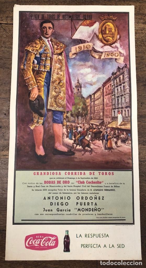 CARTEL EN SEDA BODAS DE ORO CLUB COCHERITO. PLAZA DE TOROS VISTA ALEGRE DE BILBAO. AÑOS 1910-1960 (Coleccionismo - Carteles Pequeño Formato)