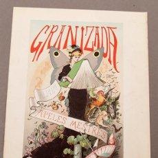 Coleccionismo de carteles: LA GRANIZADA - APELES MESTRES - LITOGRAFÍA DE 1880 - PUBLICIDAD DE LA REVISTA. Lote 245609370