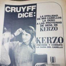 Coleccionismo de carteles: ANUNCIO KERZO CRUYFF. Lote 245903435