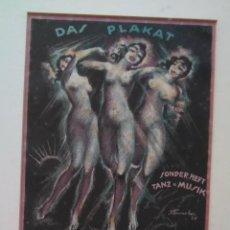 Coleccionismo de carteles: JOSEF FENNEKER. DAS PLAKAT 1921. CARTEL LITOGRAFÍA ENMARCADO. Lote 247541450