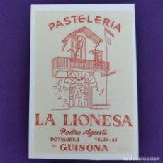 Collectionnisme d'affiches: PUBLICIDAD CARTEL DE GUISSONA (LERIDA). PASTELERIA LA LIONESA. 1940-50. ORIGINAL.. Lote 247716805