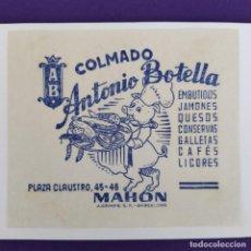 Coleccionismo de carteles: PUBLICIDAD CARTEL DE MAHON (BALEARES). COLMADO ANTONIO BOTELLA. 1940-50. ORIGINAL.. Lote 247721555