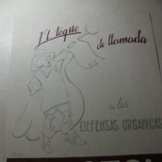 Coleccionismo de carteles: MAGNIFICO ANTIGUO CARTEL MAQUETA DIBUJO ORIGINAL,REACTOL EL TOQUE DE LLAMANA ALAS DEFENSAS ORGANICAS. Lote 248273465