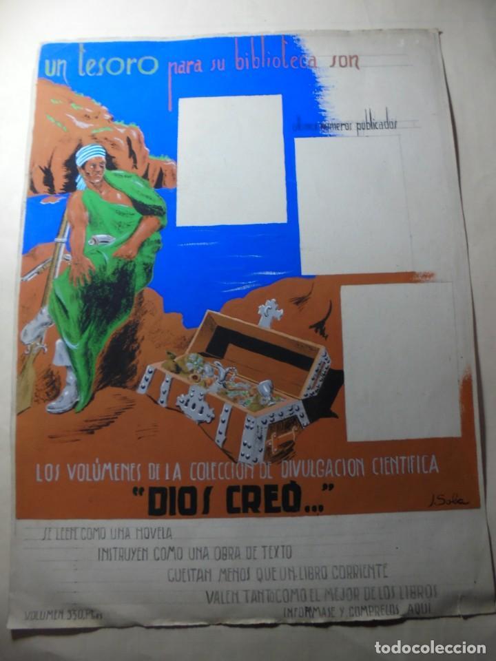 ANTIGUO CARTEL MAQUETA DIBUJO ORIGINAL UN TESORO PARA SU BIBLIOTECA,COLECCION DIVULGACION CIENTIFIVA (Coleccionismo - Carteles Pequeño Formato)