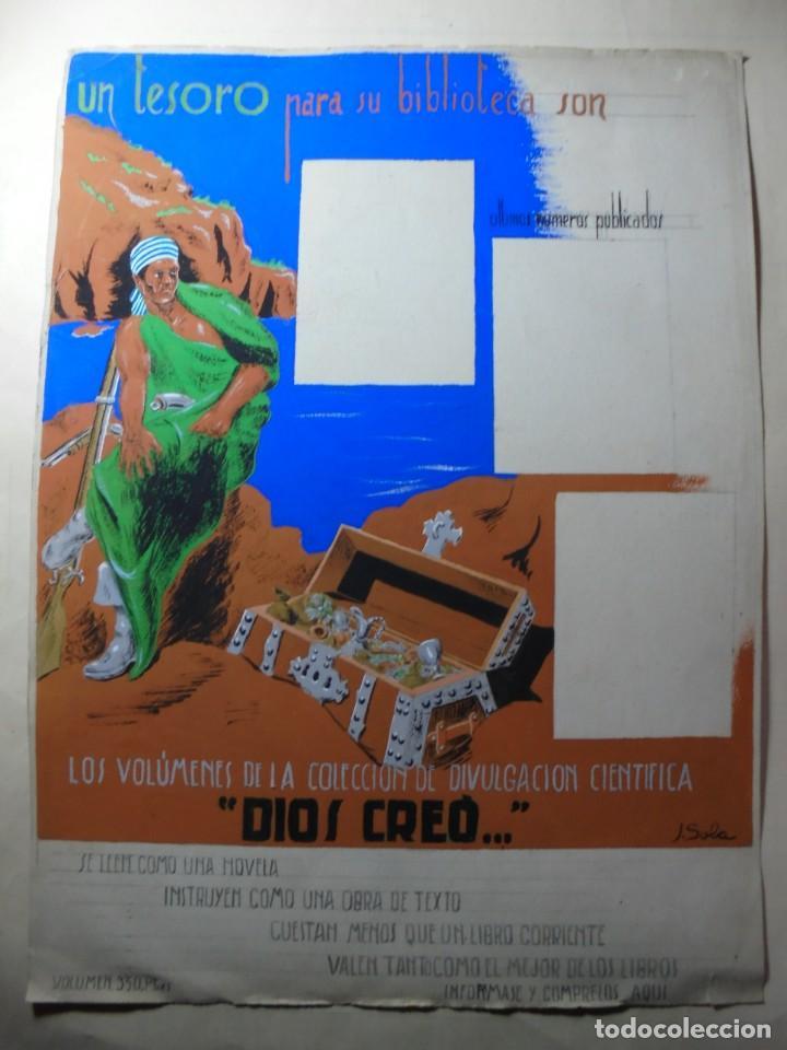 Coleccionismo de carteles: antiguo cartel maqueta dibujo original un tesoro para su biblioteca,coleccion divulgacion cientifiva - Foto 2 - 248601690