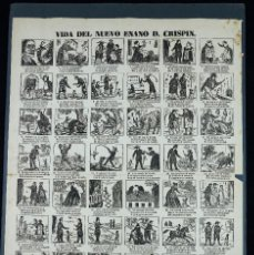 Coleccionismo de carteles: VIDA DEL NUEVO ENANO D. CRISPIN. - AUCA 31X44 CM. SIGLO XIX, ED. BARCELONA.. Lote 249406680