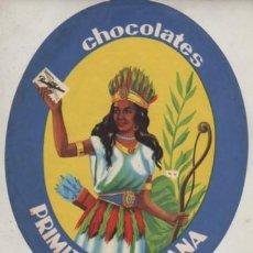 Coleccionismo de carteles: CARTEL DE PAPEL PUBLICIDAD DE CHOCOLATES PRIMITIVA INDIANA DE GIJON - ASTURIAS. Lote 249483310
