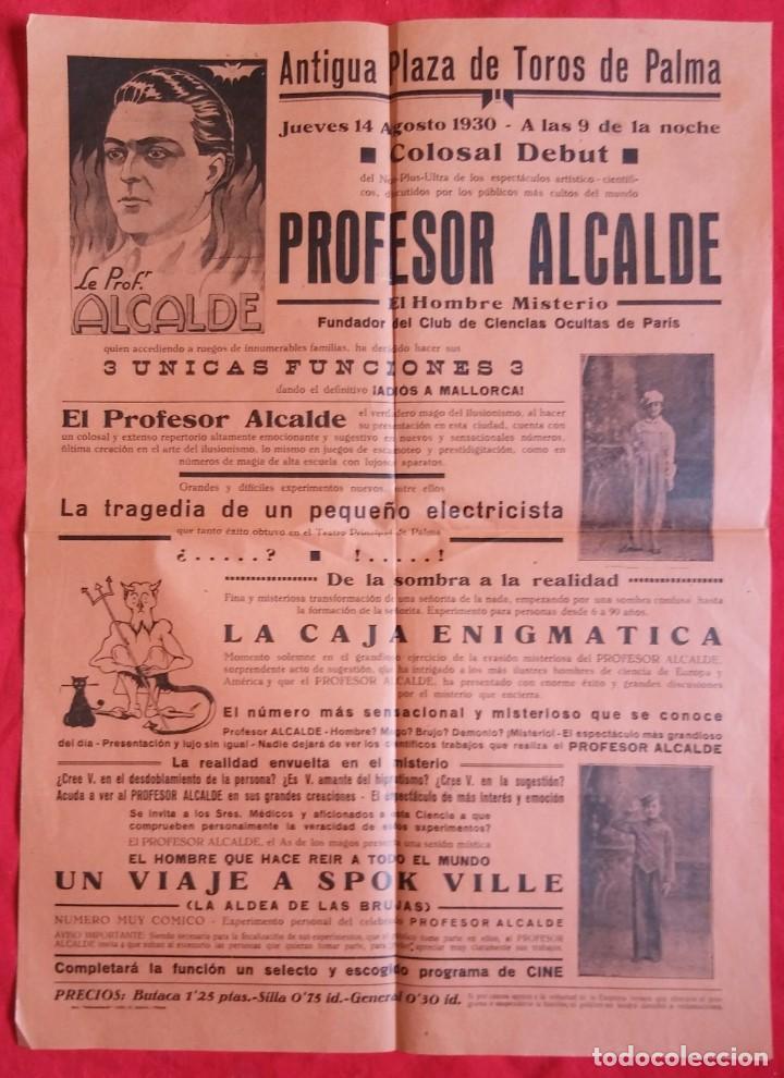 CARTEL DE 1930, ESPECTÁCULO PROFESOR ALCALDE - ANTIGUA PLAZA DE TOROS PALMA DE MALLORCA - PJRB (Coleccionismo - Carteles Pequeño Formato)