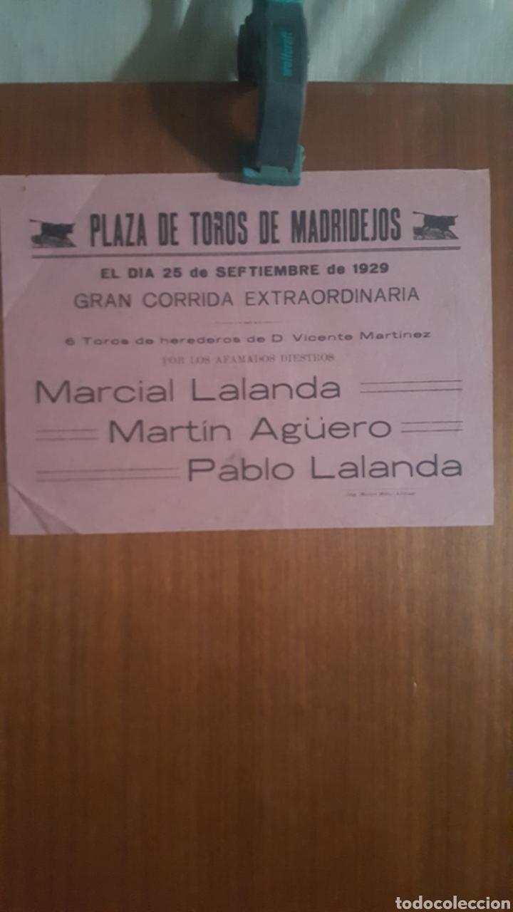 CARTEL DE TOROS DE MADRIDEJOS 1929 (Coleccionismo - Carteles Pequeño Formato)