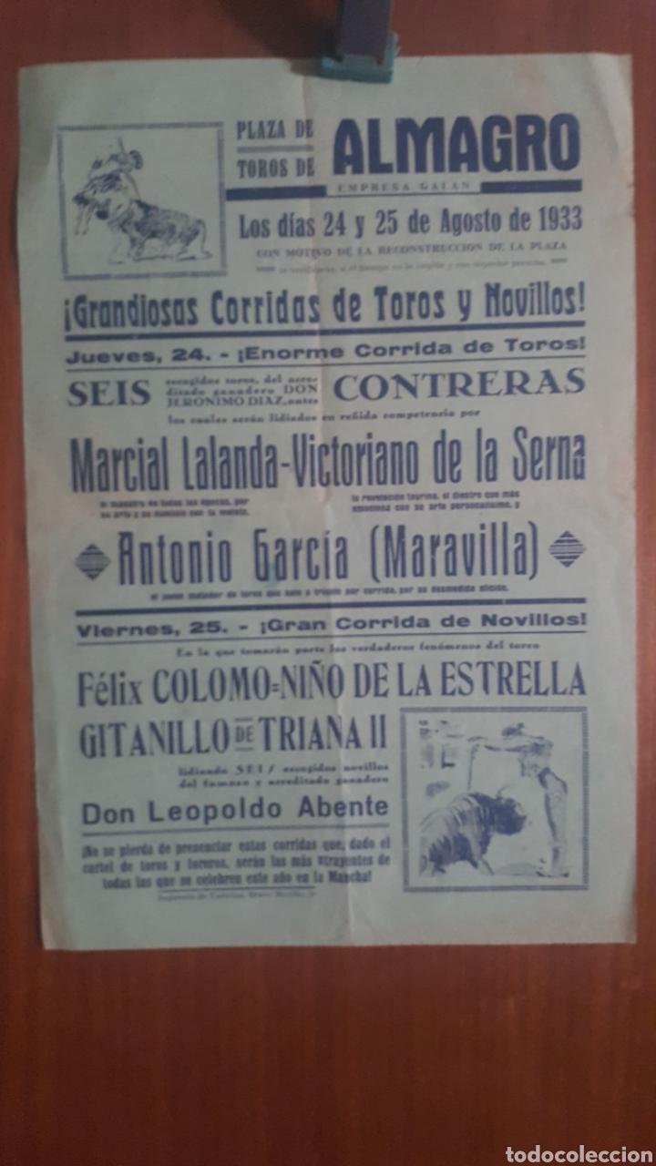 CARTEL DE TOROS DE ALMAGRO (CIUDAD REAL) 1933 (Coleccionismo - Carteles Pequeño Formato)