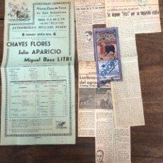 Coleccionismo de carteles: CARTEL NUEVA PLAZA TOROS SAN SEBASTIAN. 30 JULIO 1950. SE ACOMPAÑA RECORTES PRENSA Y ENTRADA. Lote 254357165