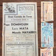Coleccionismo de carteles: CARTEL NUEVA PLAZA TOROS SAN SEBASTIAN. 31 DE AGOSTO DE 1947. SE ACOMPAÑA DE ENTRADAS. Lote 254358365