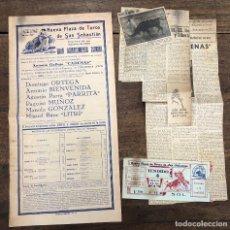 Coleccionismo de carteles: CARTEL NUEVA PLAZA TOROS SAN SEBASTIAN. 19 AGOSTO 1952. RECORTES DE PRENSA Y ENTRADA. Lote 254358645