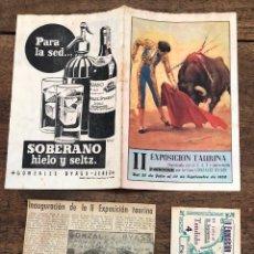 Coleccionismo de carteles: DIPTICO II EXPOSICION TAURINA SAN SEBASTIAN. 30 SEPTIEMBRE 1952 + RECORTE PRENSA + ENTRADA. Lote 254359025