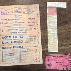 Coleccionismo de carteles: CARTEL PLAZA TOROS TOLOSA. 5 ABRIL 1953. RECORTE PRENSA Y ENTRADA. Lote 254359375