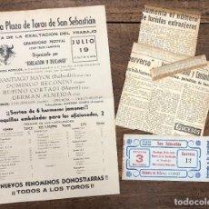 Coleccionismo de carteles: CARTEL NUEVA PLAZA TOROS SAN SEBASTIAN. 19 JULIO 1953. CON RECORTES PRENSA Y ENTRADA. Lote 254359950