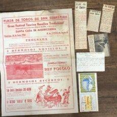Coleccionismo de carteles: CARTEL PLAZA TOROS SAN SEBASTIAN. 10 DE JUNIO DE 1956. SE ACOMPAÑA DE RECORTES Y ENTRADA. Lote 254360210