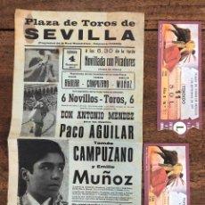 Coleccionismo de carteles: CARTEL PLAZA TOROS DE SEVILLA. 4 SETIEMBRE 1977. SE ACOMPAÑA DE ENTRADAS. Lote 254361070