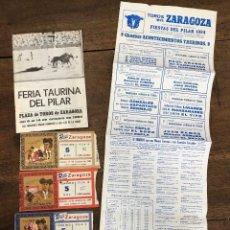 Coleccionismo de carteles: CARTEL PLAZA TOROS ZARAGOZA. PILAR 1984. SE ACOMPAÑA DE DIPTICO Y 4 ENTRADAS. Lote 254361750