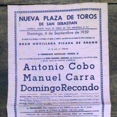 Coleccionismo de carteles: CARTEL NUEVA PLAZA TOROS SAN SEBASTIAN. 6 DE SEPTIEMBRE DE 1959. Lote 254362875