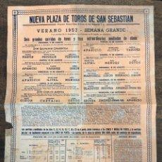 Coleccionismo de carteles: CARTEL NUEVA PLAZA TOROS SAN SEBASTIAN. VERANO 1957. Lote 254363220