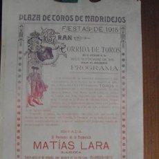 Coleccionismo de carteles: CARTEL DE TOROS MADRIDEJOS (TOLEDO) AÑO 1915. Lote 254383370